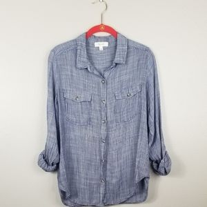 Becaal Blue White Pinstriped Long Sleeve Top